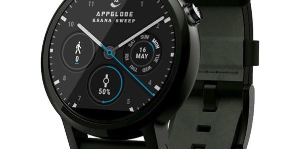 Ksana Sweep Watch Face on Moto 360 2 (with black bands)
