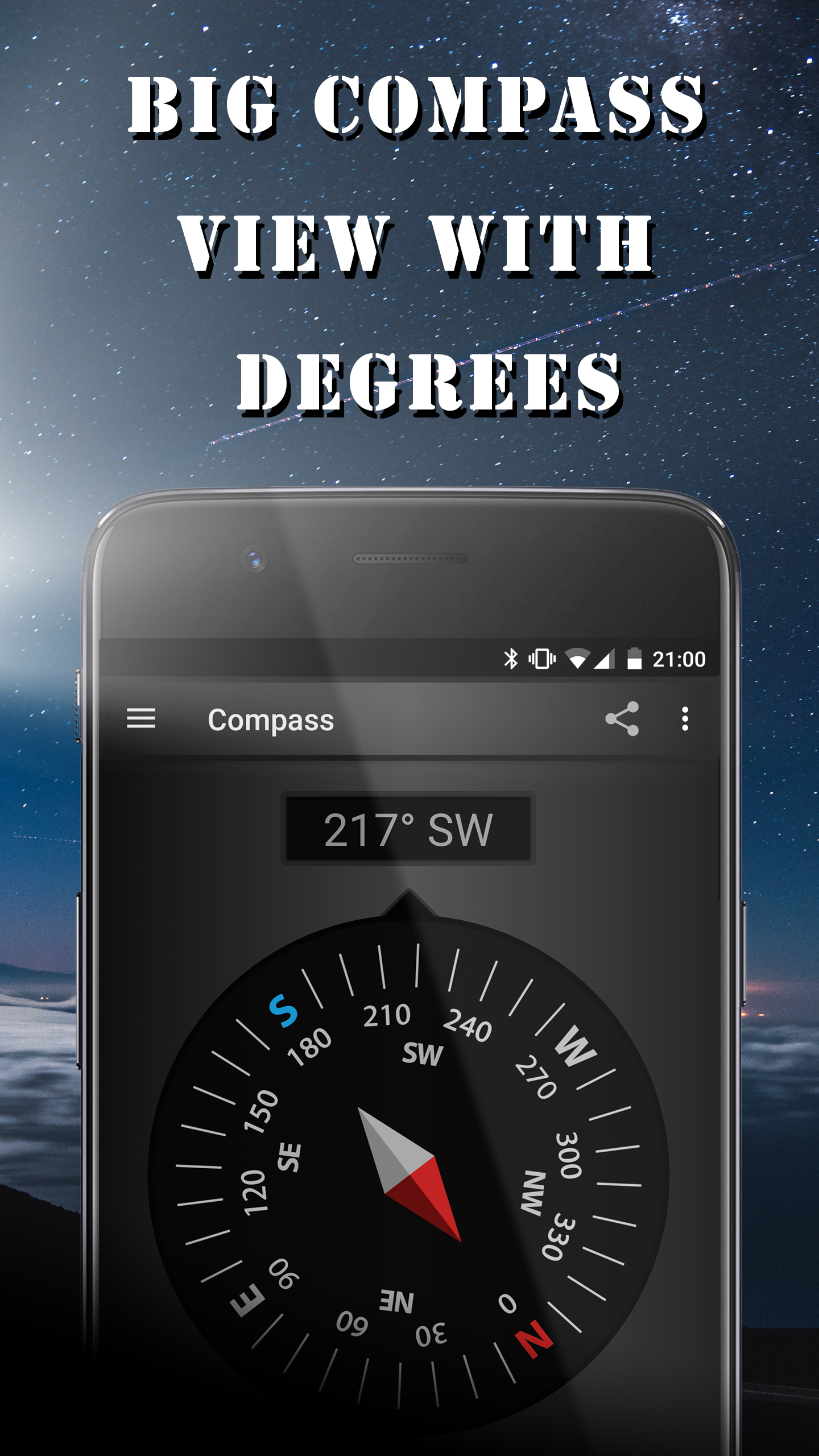 big compass view with degrees