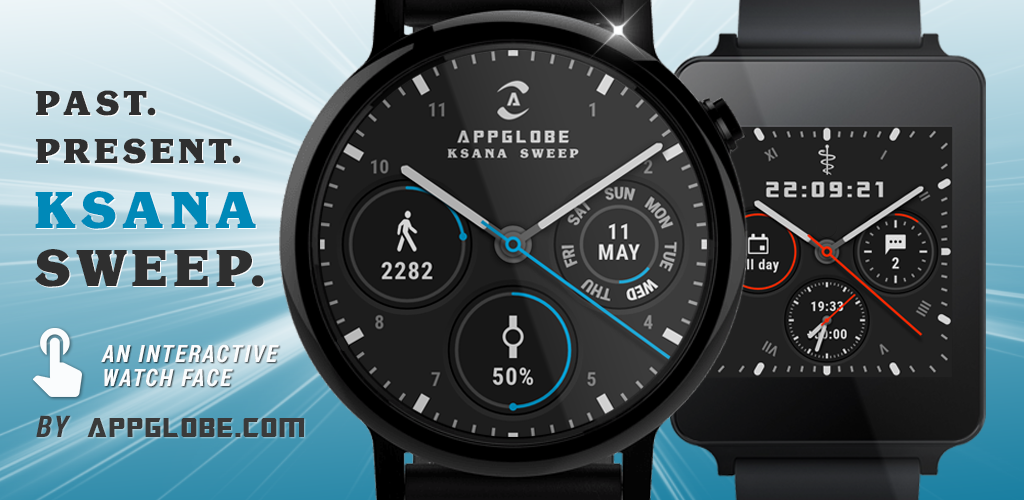 Ksana Sweep: interactive watch face with wear 2.0 complications