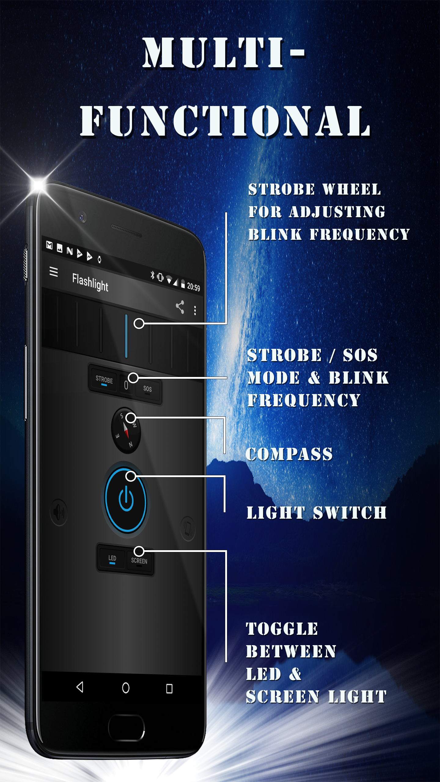 Multi-functional: strobe & SOS, magnetic compass, LED & screen light toggle