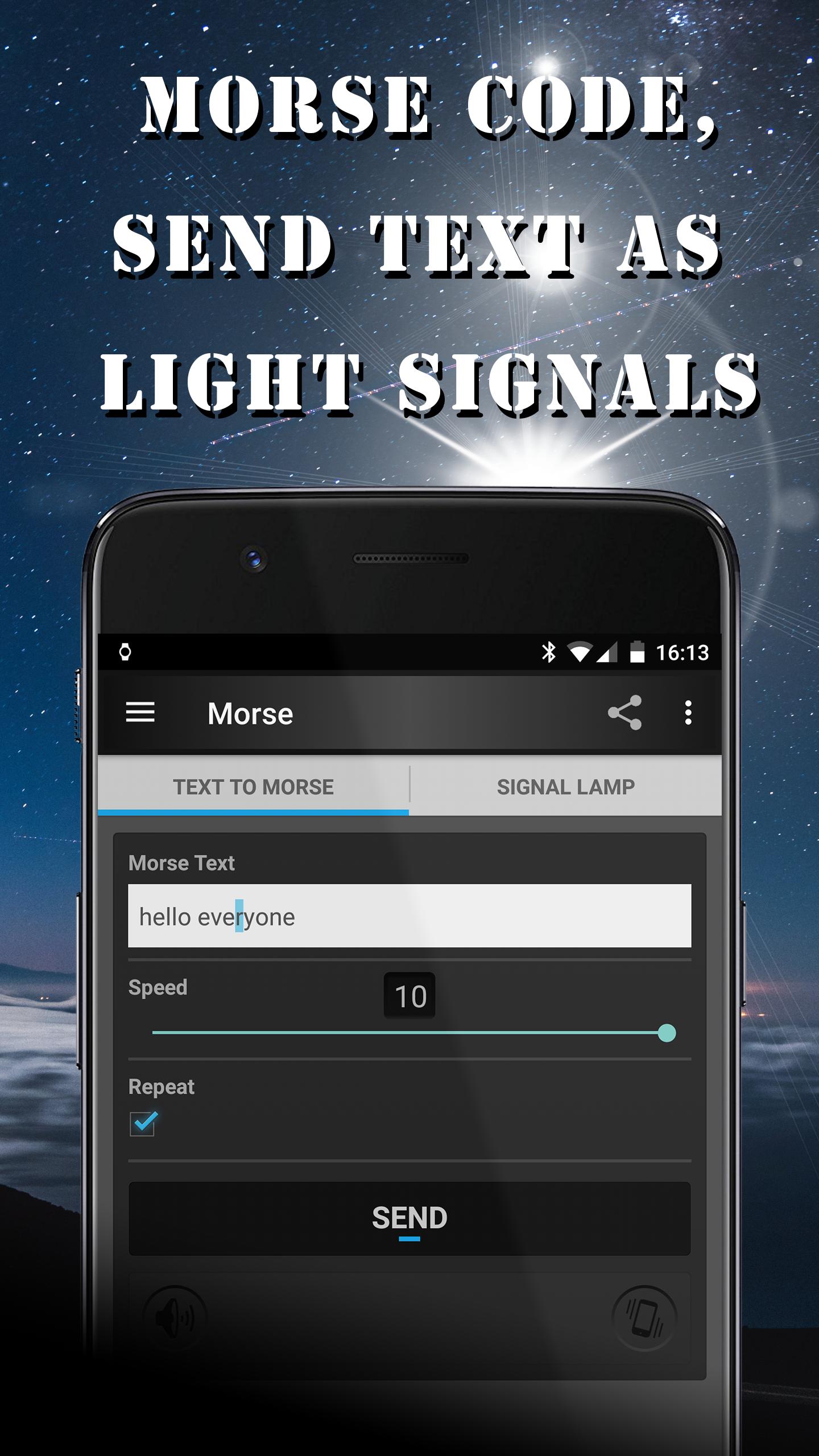 morse code, send text as light signals