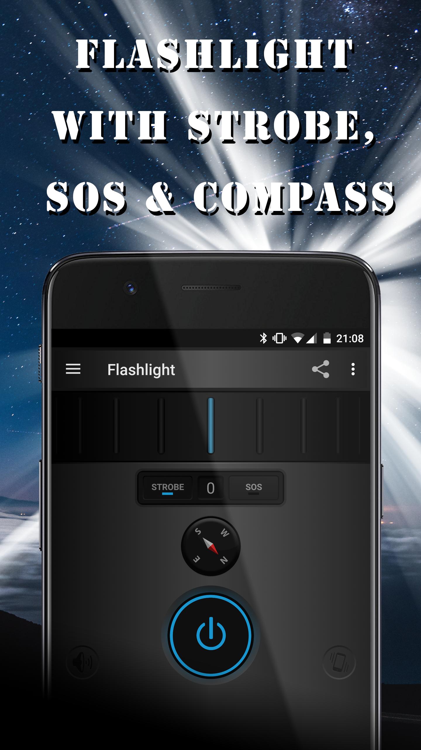 LED flashlight with strobe light, SOS & compass
