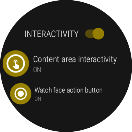 Interactivity settings page